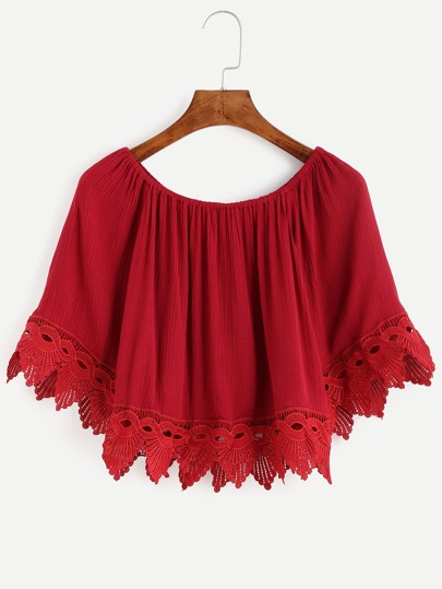 Red Crochet Trim Off The Shoulder Top