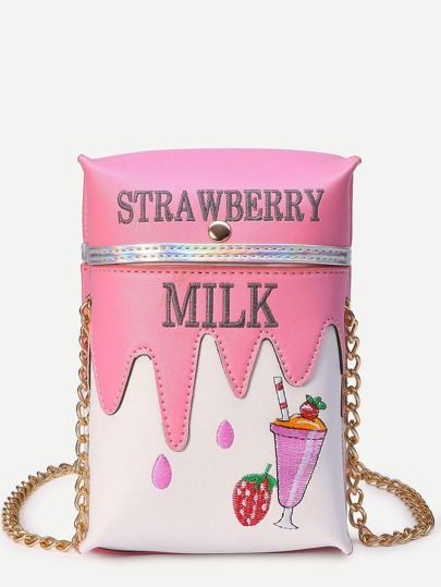 Pink Embroidered Milk Carton Bag With Chain