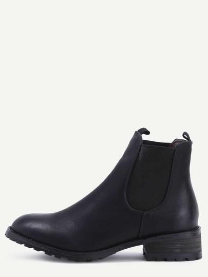 Black Elastic Mid Heeled Ankle Boots