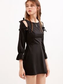 Black Cutout Bow Tie Zipper A-line Dress