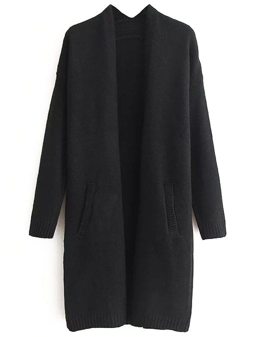 Black Ribbed Trim Drop Shoulder Long Sweater Coat sweater160825204