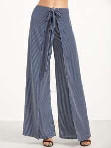 Navy Vertical Striped Wide Leg Wrap Pants