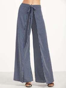 Navy Vertical Striped Wide Leg Wrap Pants