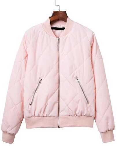 Pink Diamond Quilted Bomber Jacket With Zipper