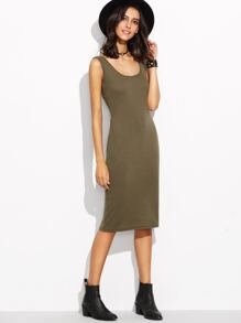 Army Green Scoop Neck Tank Dress