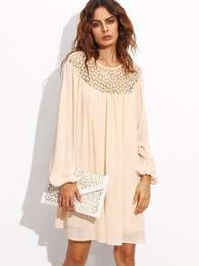 Apricot Hollow Out Crochet Neck Lantern Sleeve Dress