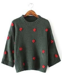 Dark Green Flower Embellished Drop Shoulder Sweater