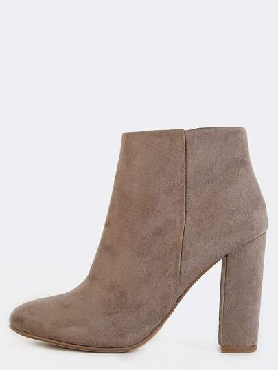 Chunky Heel Suede Ankle Boots TAUPE