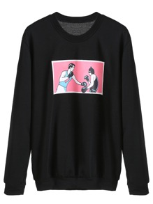 Black Graphic Print Sweatshirt