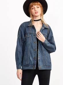 Blue Dropped Shoulder Seam Pockets Denim Jacket