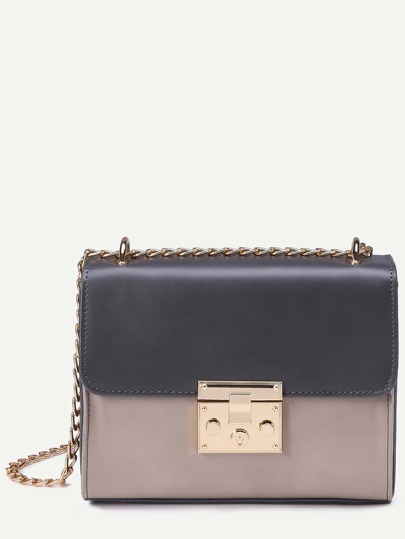 Contrast Pushlock Structured Flap Bag With Chain