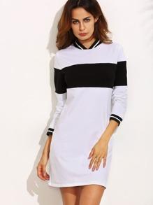 Black and White Contrast Trim Long Sweatshirt