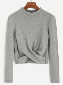 Grey Mock Neck Twist Front Crop T-shirt