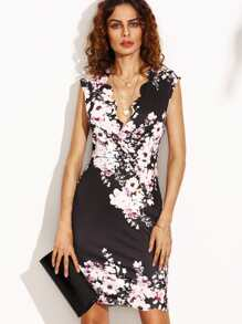 Black Flower Print Scalloped Trim Sheath Dress