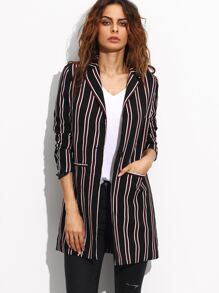 Multicolor Striped Lapel Pockets Long Blazer