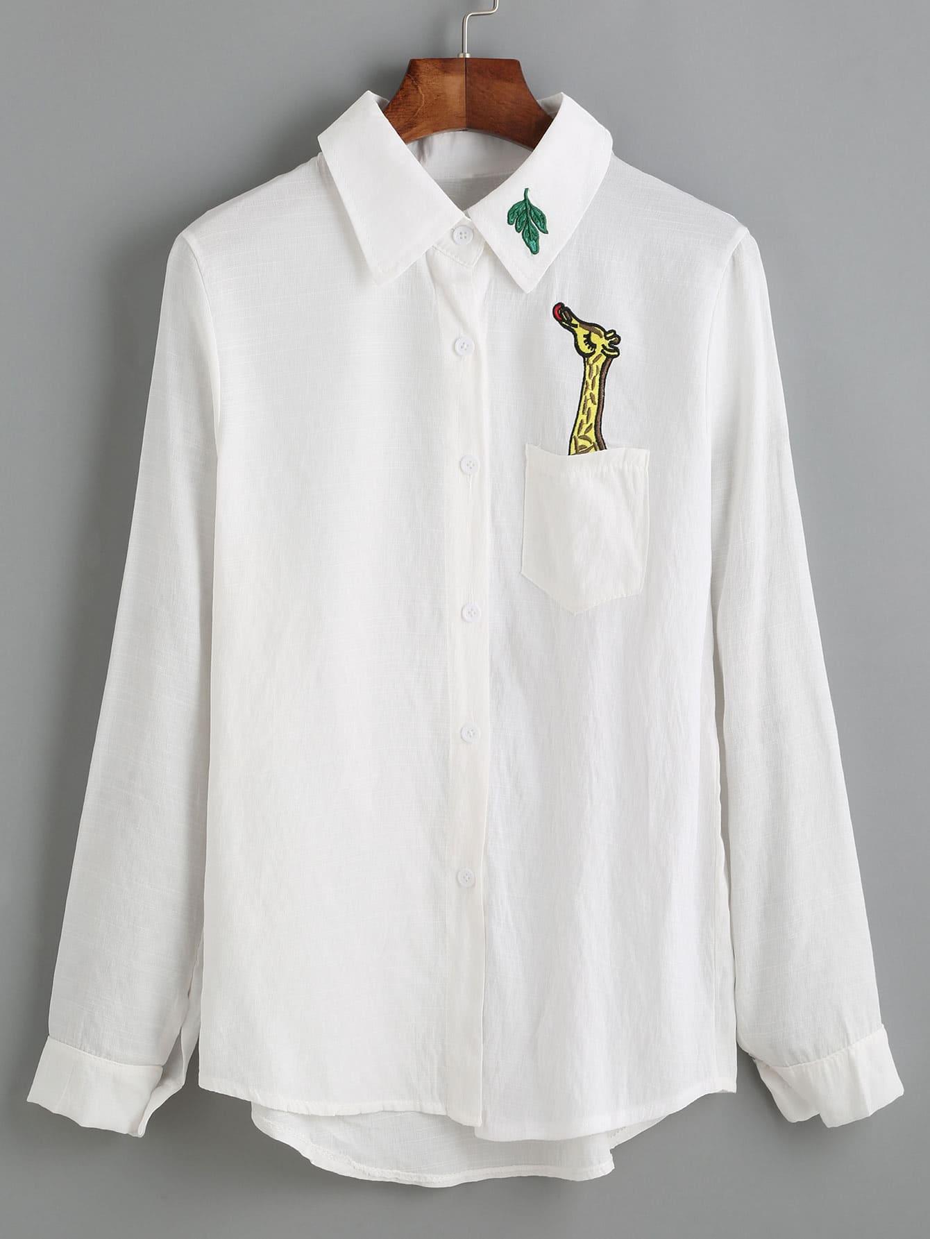 Giraffe Embroidered Dip Hem Shirt With Chest Pocket RBLO160803122