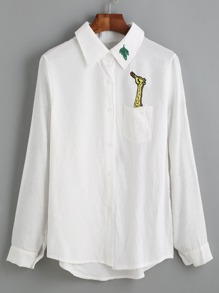 Giraffe Embroidered Dip Hem Shirt With Chest Pocket