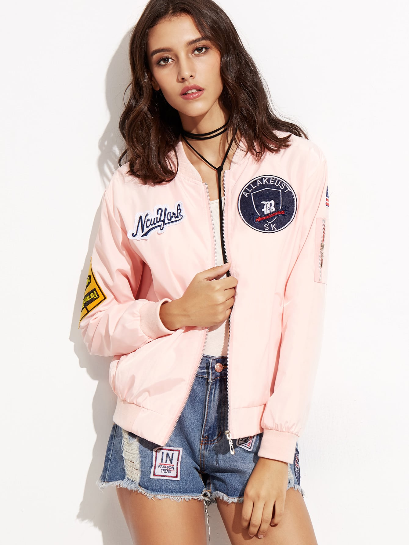 Embroidered Patch Zipper Bomber Jacket two tone patch back letter ribbon detail bomber jacket