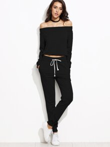 Black Off The Shoulder Top With Drawstring Pants