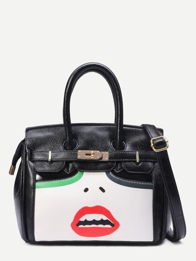 Black Lip Print Turnlock Strap Front Satchel Bag