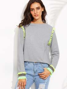 Heather Grey Pom Pom Raw Edge Sweatshirt With Embroidered Cuff