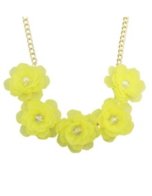 Yellow Chunky Resin Flower Necklace