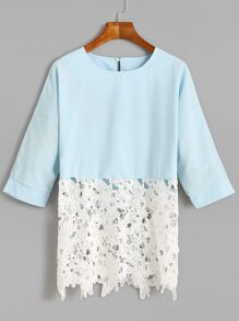 Blue Contrast Crochet Hem Keyhole Back Top