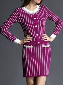 Purple White Striped Top With Pockets Skirt
