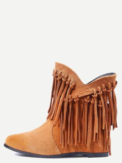 Brown Nubuck Leather Fringe Tassel Hidden Heel Boots