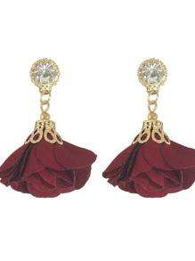 Red Women Jewelry Flower Drop Earrings