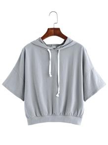 Grey Drop Shoulder Short Sleeve Hooded Sweatshirt