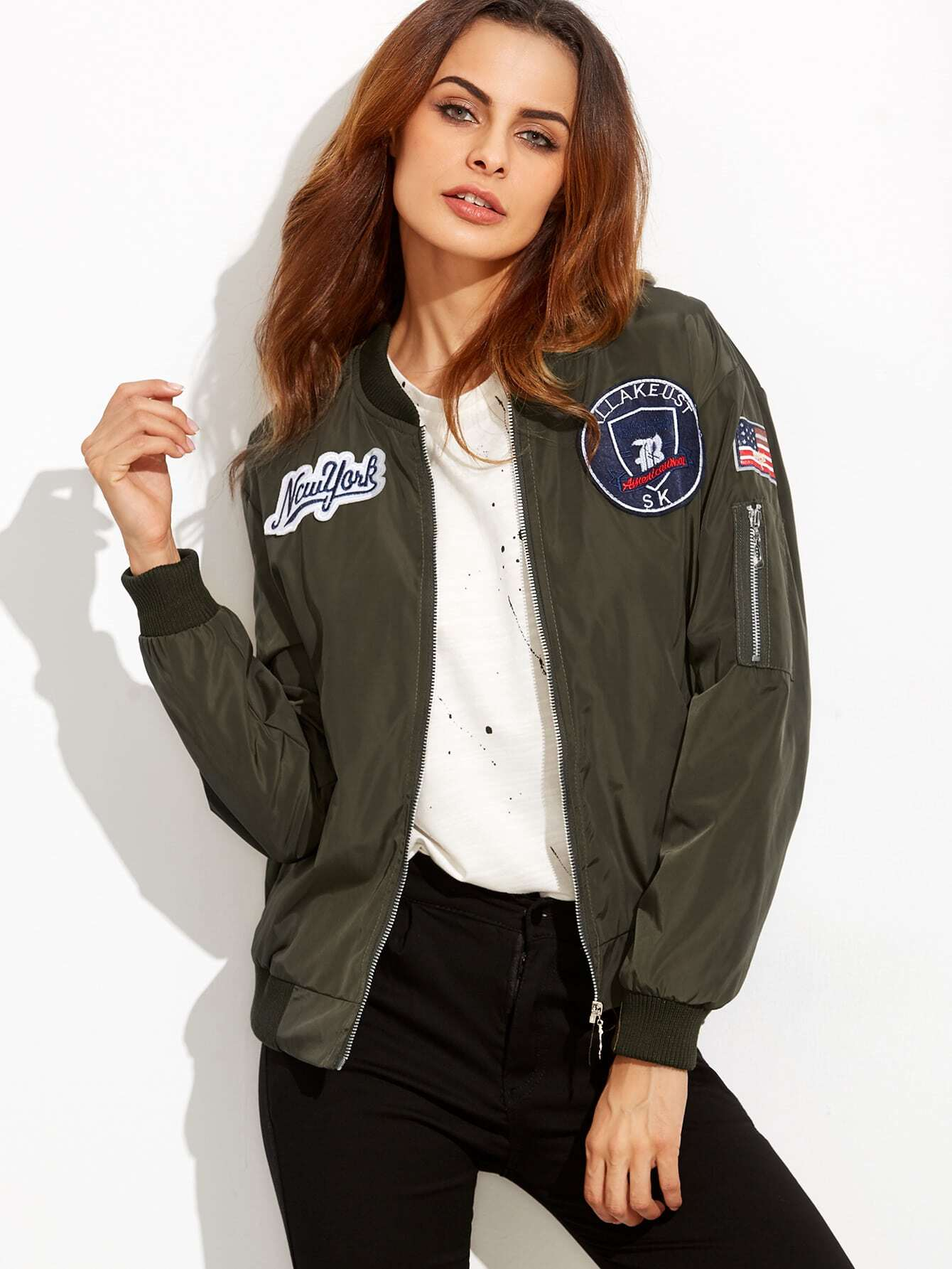 Купить со скидкой Embroidered Badge Patches Zip Sleeve Bomber Jacket