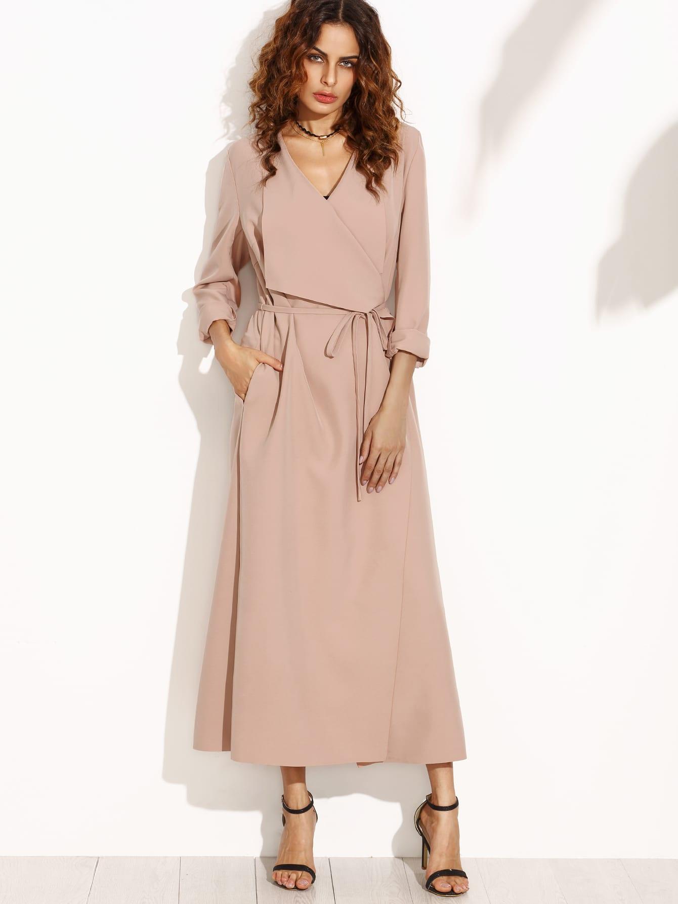 Image of Pink Drape Collar Longline Wrap Coat