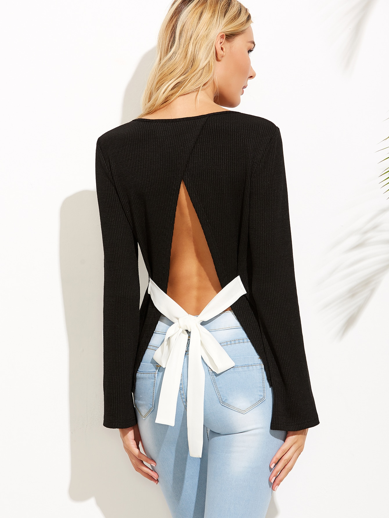 Black Bow Tie Split Back Ribbed T-shirt tee160826502