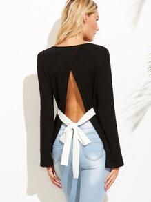 Black Bow Tie Split Back Ribbed T-shirt