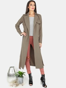 Trench Duster Longline Coat OLIVE