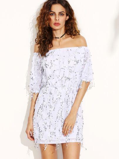 Платье белое с пайетками