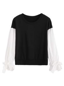 Black Contrast Sleeve Ruffle Cuff Bows Sweatshirt