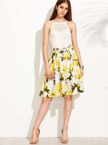 Lemon Print A-Line Skirt With Belt