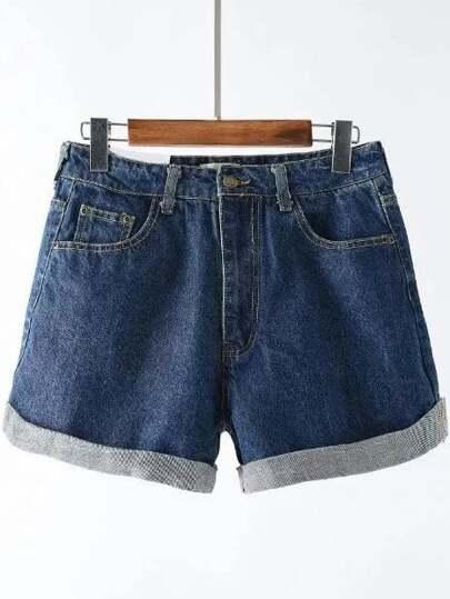 Pantalones cortos denim ribete con vuelta - azul