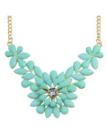 Blue Gemstone Flower Shape Necklace