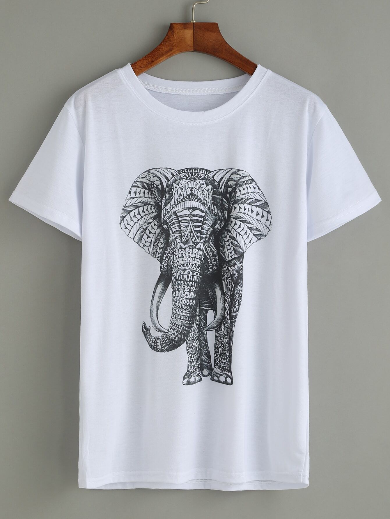white elephant print t shirt shein sheinside. Black Bedroom Furniture Sets. Home Design Ideas