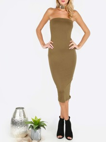 Army Green Tube Sleeveless Sheath Midi Dress
