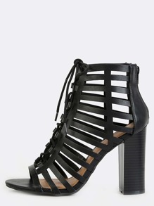 Laser Cut Lace Up Stacked Heels BLACK