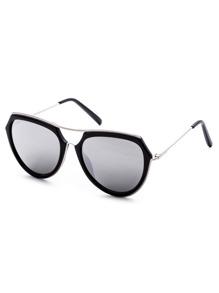Metal Frame Double Bridge Grey Lens Aviator Sunglasses