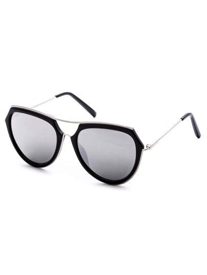 Metal Frame Double Bridge Grey Lens Aviator Sunglasses
