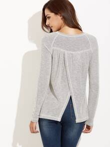 Grey Split Back Raglan Sleeve T-shirt