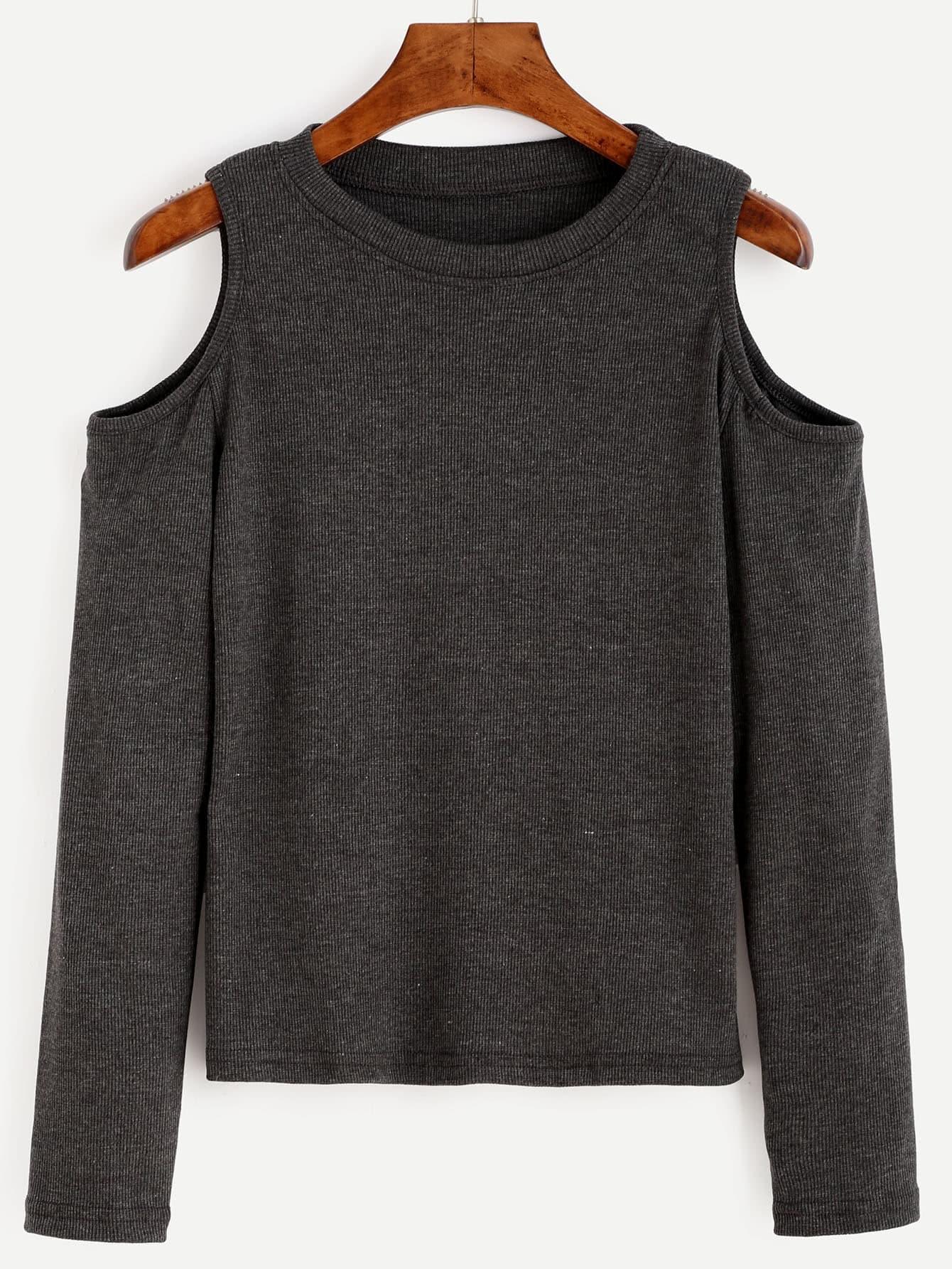 Open Shoulder Rib Knit Tee RTSH160803127