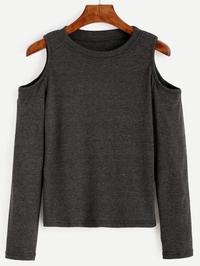 Dark Grey Open Shoulder Knit T-shirt