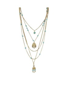 Blue Beads Long Chain Necklace
